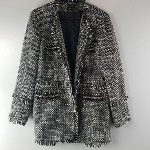 INC Black/White Long Jacket size XL